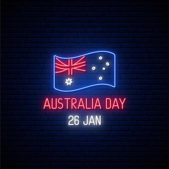 Bandera de neón del día de australia.