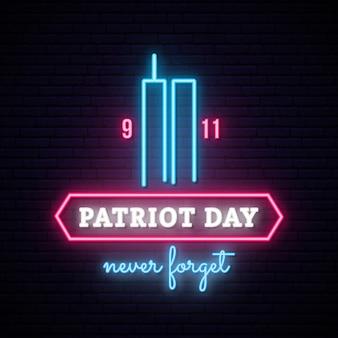 Bandera de neón del día del patriota con torres gemelas.