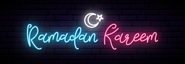 Bandera de neón de ramadán kareem.