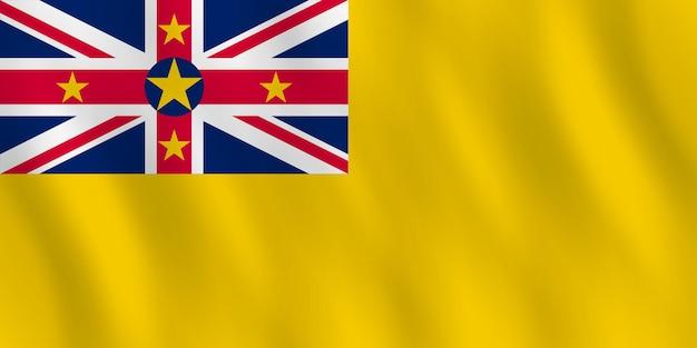 Bandera de niue con efecto ondulado, proporción oficial.