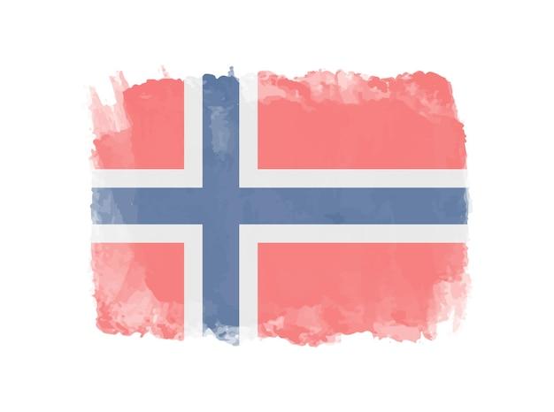 Bandera de noruega acuarela grunge