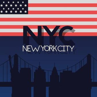 Bandera de nueva york de la ciudad americana