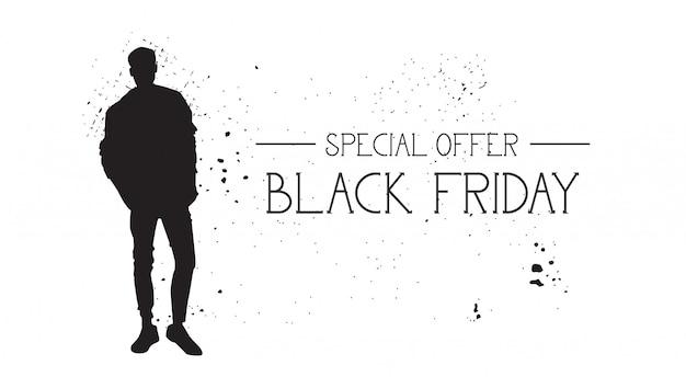 Bandera de la oferta especial de black friday con el modelo de moda de goma de grunge silueta masculina en blanco