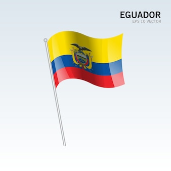 Bandera ondeando ecuador aislado sobre fondo gris