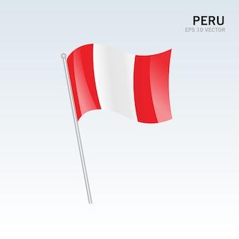 Bandera ondeando perú aislado sobre fondo gris