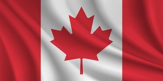 Bandera ondulada de canadá roja y blanca