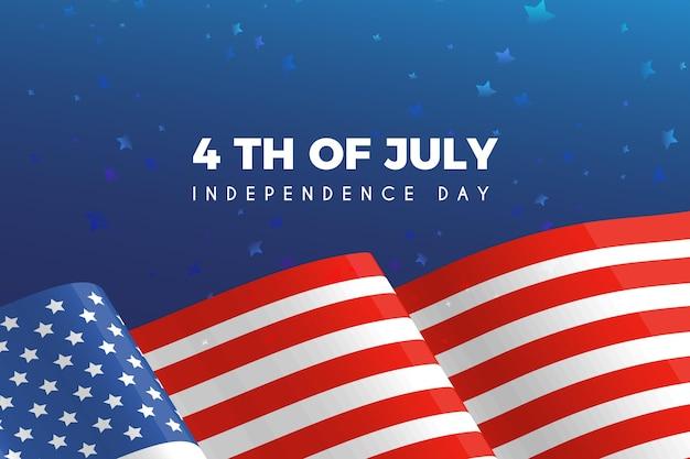 Bandera ondulada del día de la independencia de estados unidos