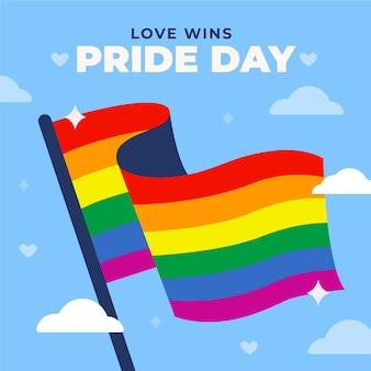 Bandera del orgullo del arco iris en el cielo