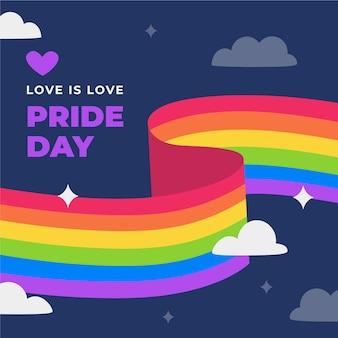Bandera del orgullo del arco iris en la noche