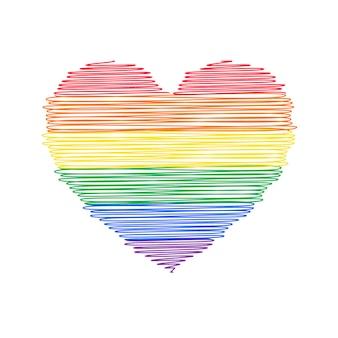 Bandera del orgullo de doodle en forma de corazón