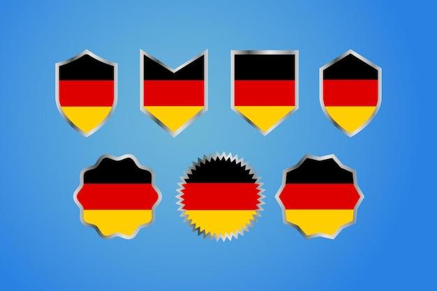 Bandera de país de alemania con bandeja de frontera de plata