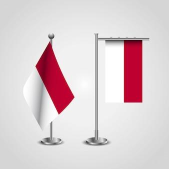 Bandera de país de indonesia en el polo