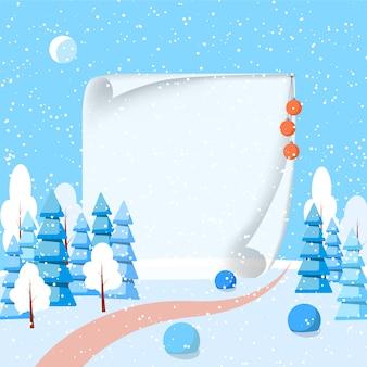 Bandera de paisaje horizontal de invierno con papel estilo plano