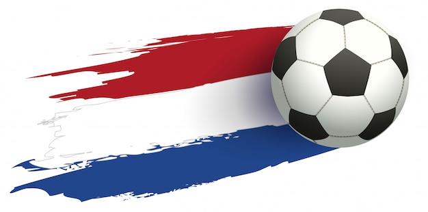 Bandera de los países bajos y balón de fútbol