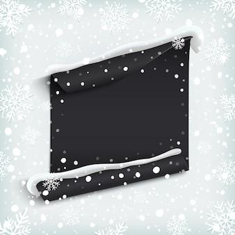 Bandera de papel negro, abstracto sobre fondo de invierno con nieve y copos de nieve. ilustración.