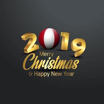 Bandera de perú 2019 tipografía de feliz navidad