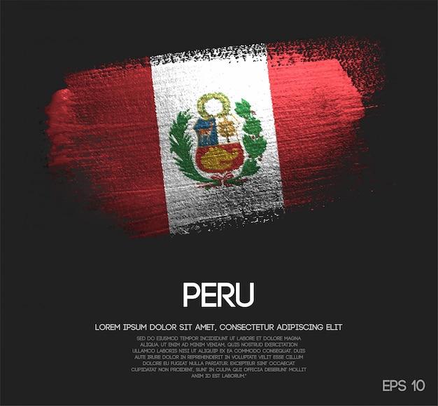 Bandera de perú hecha de pintura brillante brillo brillo