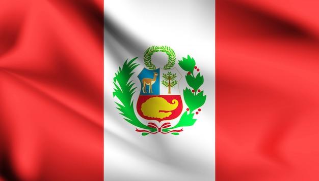 Bandera de perú ondeando con la ilustración del viento