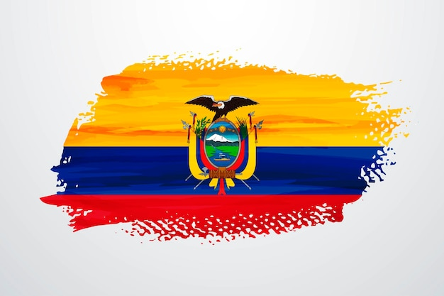 Bandera de pintura de pincel de ecuador