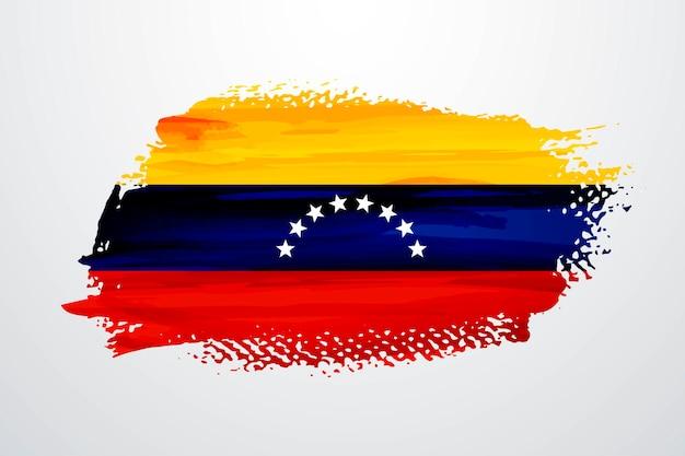 Bandera de pintura de pincel de venezuela
