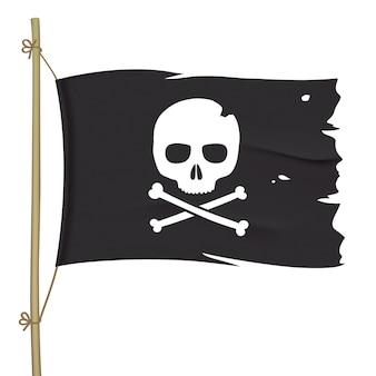Bandera pirata rota con calavera blanca. ondeando la bandera negra con tibias cruzadas.