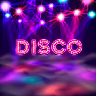 Bandera de pista de baile, letrero de texto disco. ilustración vectorial