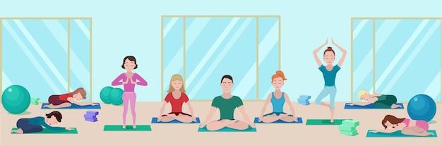 Bandera plana colorida clase de yoga con personas en colchonetas en diferentes poses en el gimnasio