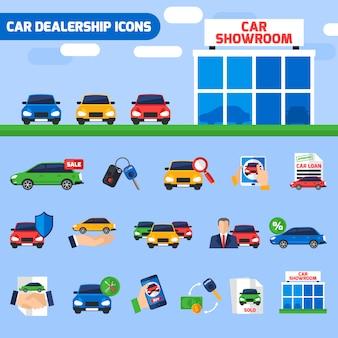 Bandera plana de la composición de los iconos del concesionario de coches