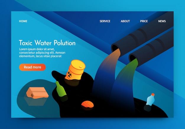 La bandera plana se escribe la contaminación del agua tóxica 3d.