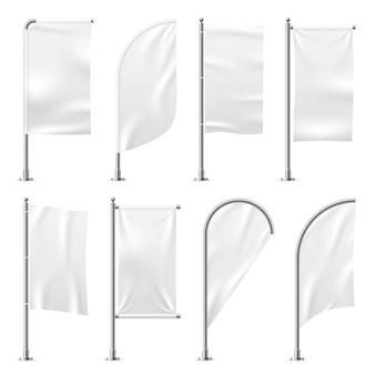 Bandera de playa banner de plantilla conjunto de pantalla de banderas blancas