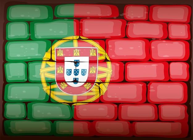 Bandera de portugal en brickwall