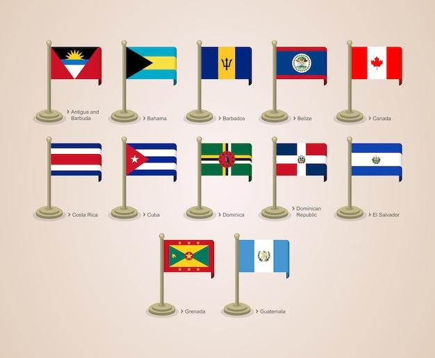 Bandera de poste lindo y atractivo de los países de américa del norte parte 01