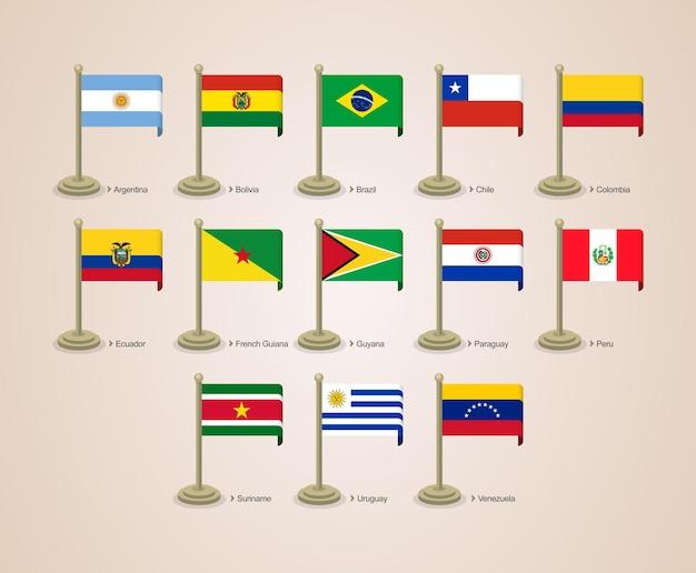 Bandera de poste lindo y atractivo de los países de américa del sur