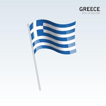 Bandera que agita de grecia aislada en fondo gris