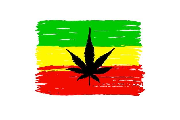 Bandera de rastafaris con cannabis