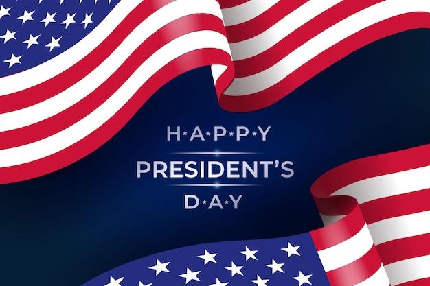 Bandera realista para evento del día del presidente