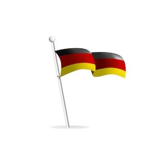 Bandera realista sobre fondo blanco ilustración vectorial de alemania