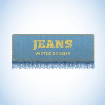 Bandera realista vector de jeans.