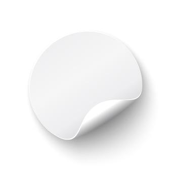 Bandera redonda curva blanca, realista, sobre fondo blanco. ilustración.