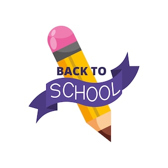 Bandera de regreso a la escuela con lápiz aislado sobre fondo blanco. ilustración vectorial