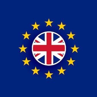 Bandera del reino unido dentro de la bandera de la unión europea