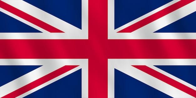 Bandera de reino unido con efecto ondulado, proporción oficial.