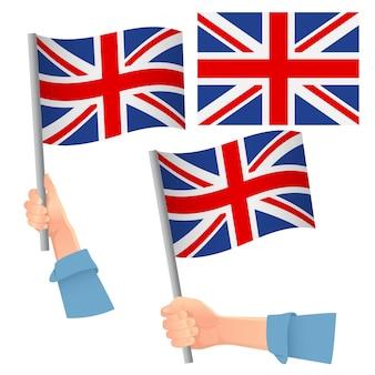 Bandera de reino unido en mano set