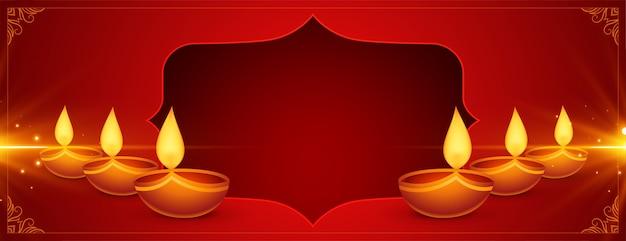 Bandera roja brillante feliz diwali con diya