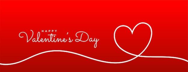 Bandera roja del corazón de la línea del día de san valentín