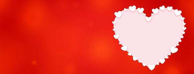 Bandera roja del día de san valentín del corazón decorativo