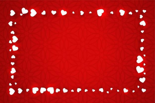 Bandera roja del día de san valentín con marco de corazones