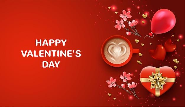 Bandera roja del día de san valentín. tarjeta de regalo navideña con flores rosas y una taza de café.