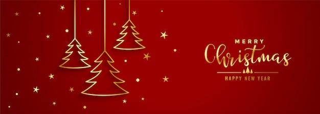 Bandera roja del festival de navidad con árbol de línea dorada
