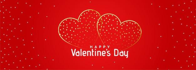 Bandera roja de hermosos corazones románticos dorados
